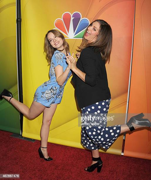 Actresses Bridgit Mendler Bianca Kajlich attend the NBCUniversal 2015 Press Tour at the Langham Huntington Hotel on January 16 2015 in Pasadena...