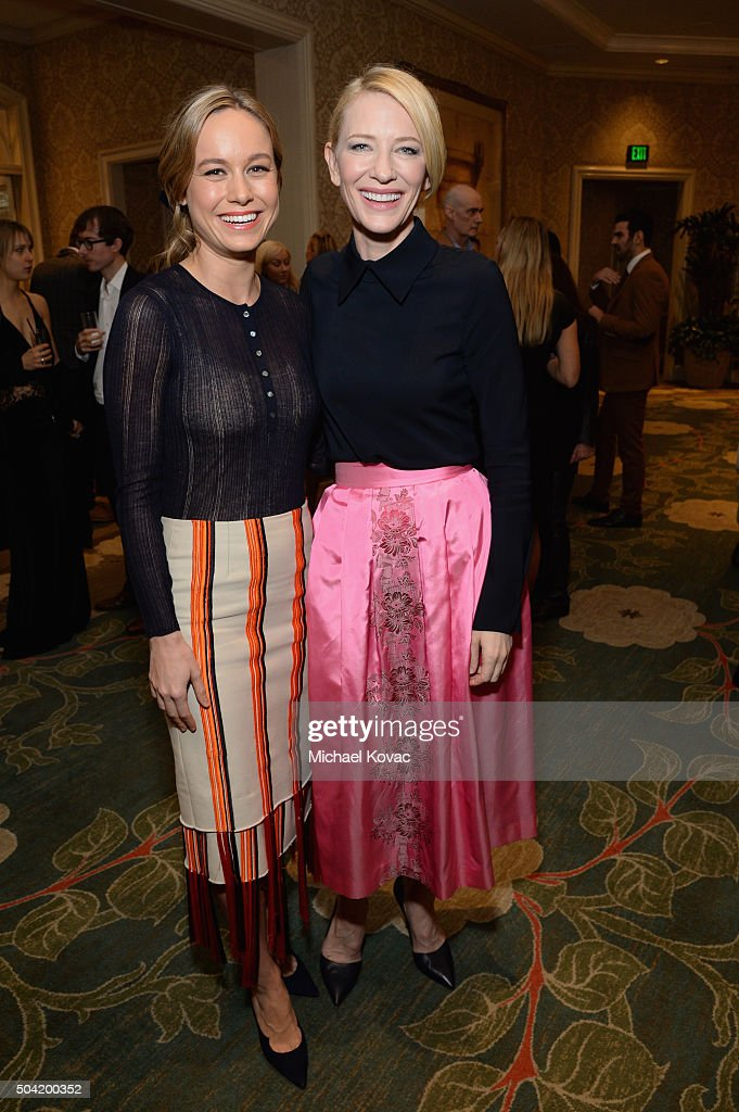 Actresses Brie Larson (L) and Cate Blanchett attend the BAFTA Los Angeles Awards Season Tea at Four Seasons Hotel Los Angeles at Beverly Hills on January 9, 2016 in Los Angeles, California.