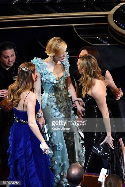 Actresses Brie Larson Cate Blanchett and Kate Winslet in the audience during the 88th Annual Academy Awards at the Dolby Theatre on February 28 2016...