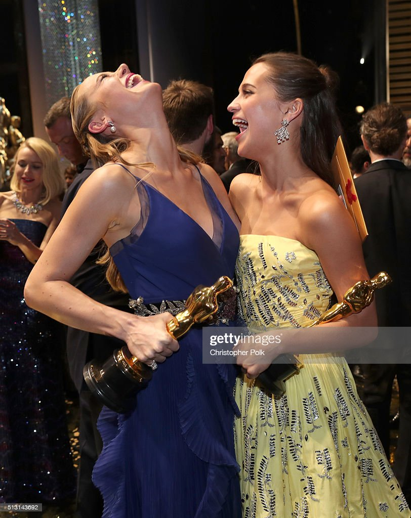 Actresses Brie Larson, winner of the Best Actress award for 'Room,' and Alicia Vikander, winner of the Best Supporting Actress award for 'The Danish Girl,' backstage at the 88th Annual Academy Awards at Hollywood & Highland Center on February 27, 2016 in Hollywood, California.
