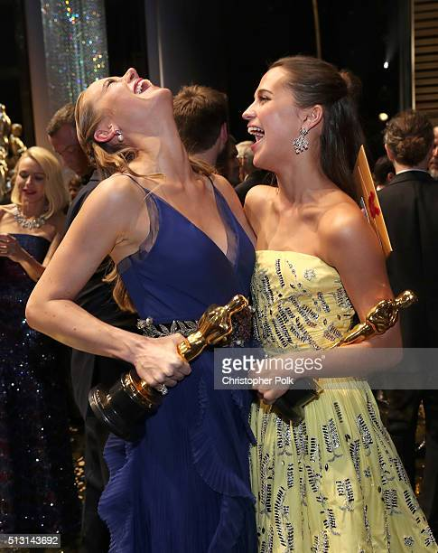 Actresses Brie Larson winner of the Best Actress award for 'Room' and Alicia Vikander winner of the Best Supporting Actress award for 'The Danish...