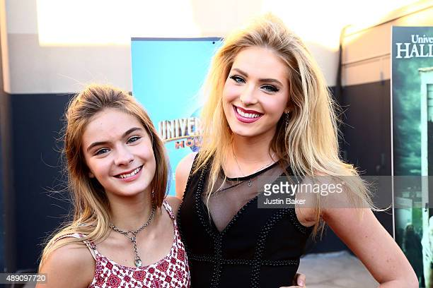 Actresses Brighton Sharbino and Saxon Sarbino attend Universal Studios Hollywood's opening night celebration of 'Halloween Horror Nights' at...