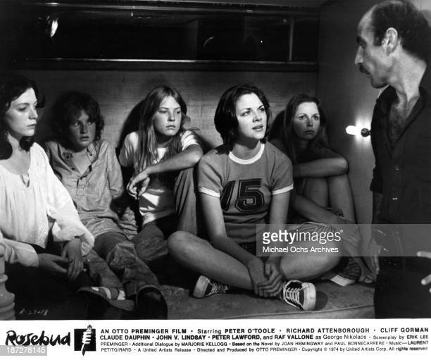 Actresses Brigitte Ariel Isabelle Huppert Debra Berger Kim Cattrall and Lalla Ward on set of the United Artist movie 'Rosebud' in 1975