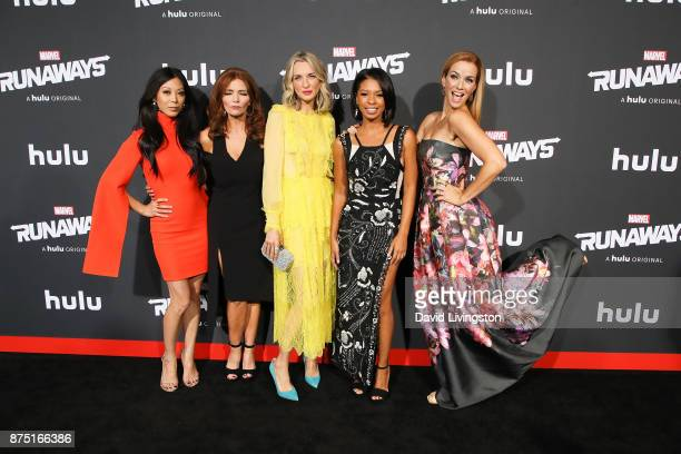 Actresses Brittany Ishibashi Brigid Brannagh Ever Carradine Angel Parker and Annie Wersching arrive at the premiere of Hulu's 'Marvel's Runaways' at...