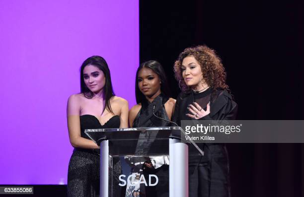 Actresses Brittany O'Grady Ryan Destiny and Jude Demorest accept their Rising Star Award for 'Star' on Day Three of aTVfest 2017 presented by SCAD at...