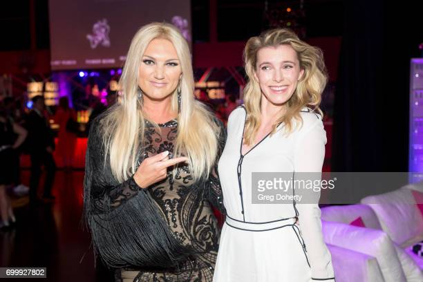Actresses Brooke Hogan and Betty Gilpin attend the Premiere Of Netflix's 'GLOW' After Party at Florentine Gardens on June 21 2017 in Los Angeles...