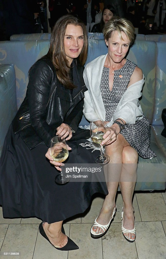 Actresses Brooke Shields and Mary Stuart Masterson attend the reception for the New York premiere of EPIX's 'Under The Gun' at Lincoln on May 12, 2016 in New York City.