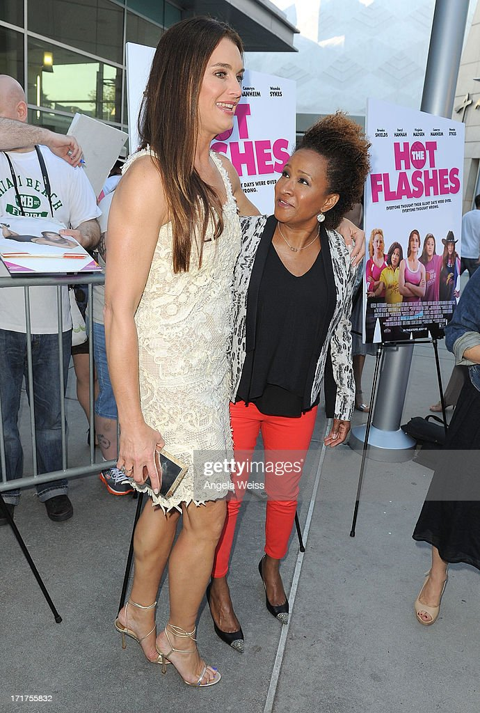 Actresses Brooke Shields (L) and Wanda Sykes arrive at the premiere of 'The Hot Flashes' at ArcLight Cinemas on June 27, 2013 in Hollywood, California.