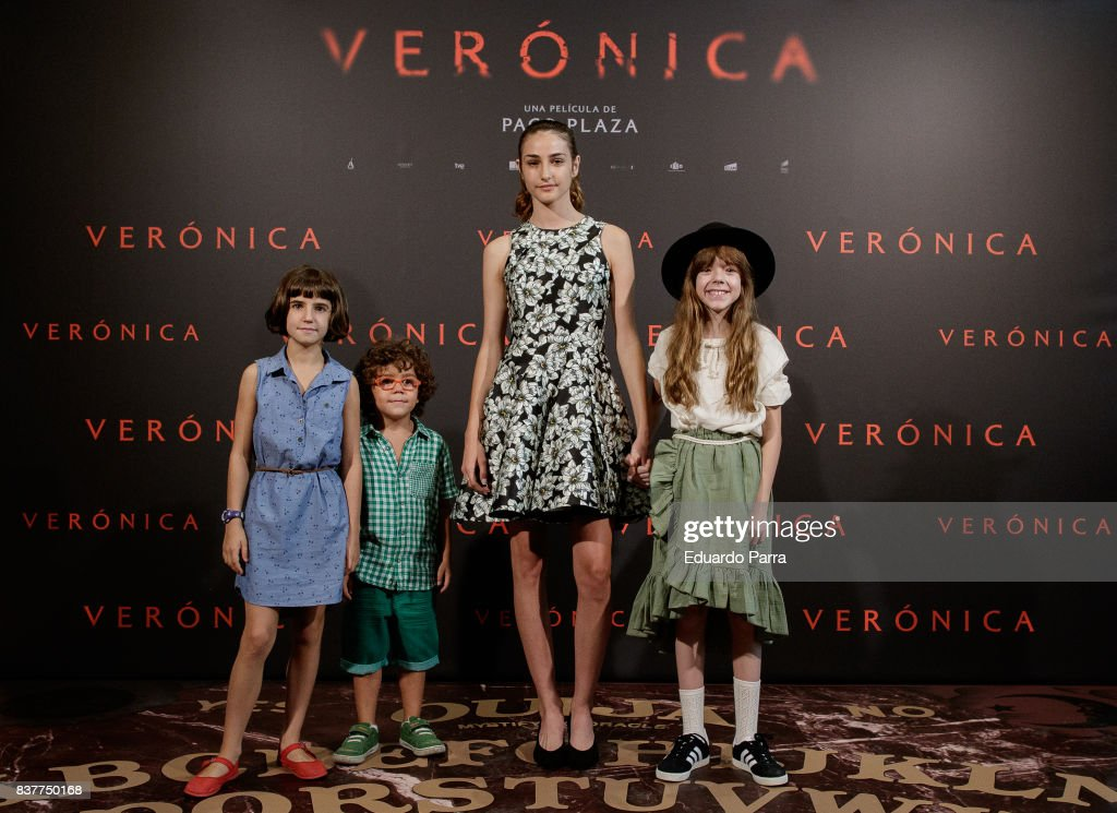 Actresses Bruna Gonzalez, Sandra Escacena and Claudia Placer attend a photocall for the film 'Veronica' at the Sony offices on August 23, 2017 in Madrid, Spain.