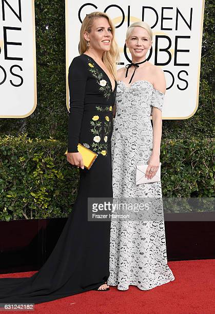 Actresses Busy Philipps and Michelle Williams attend the 74th Annual Golden Globe Awards at The Beverly Hilton Hotel on January 8 2017 in Beverly...
