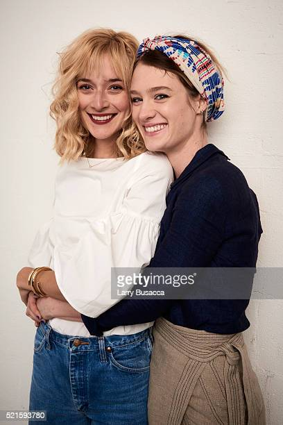 Actresses Caitlin FitzGerald and Mackenzie Davis from 'Always Shine' pose at the Tribeca Film Festival Getty Images Studio on April 15 2016 in New...