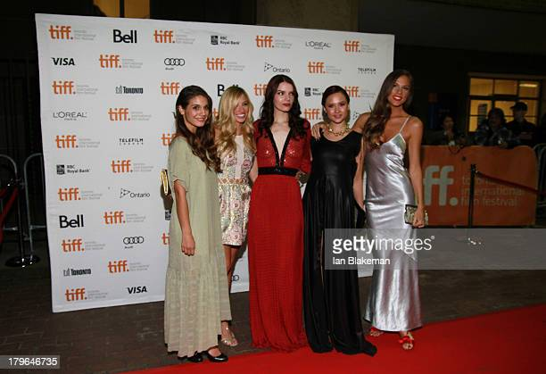 Actresses Caitlin Stasey Brooke Butler Sianoa SmitMcPhee Amanda Grace Cooper and Reanin Johannink arrive at Ryerson Theatre on September 5 2013 in...