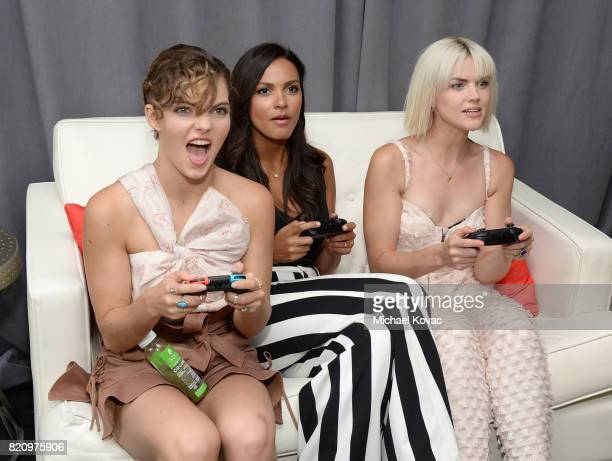 Actresses Camren Bicondova Jessica Lucas and Erin Richards stopped by Nintendo at the TV Insider Lounge to check out Nintendo Switch during ComicCon...