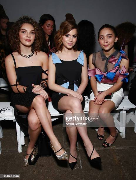 Actresses Camren Bicondova Sami Gayle and Rowan Blanchard attends the Milly show during New York Fashion Week on February 10 2017 in New York City