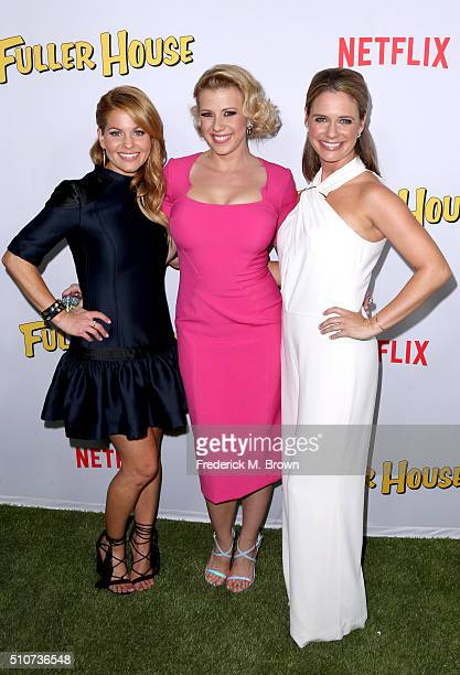 Actresses Candace CameronBure Jodie Sweetin and Andrea Barber attend the premiere of Netflix's 'Fuller House' at Pacific Theatres at The Grove on...