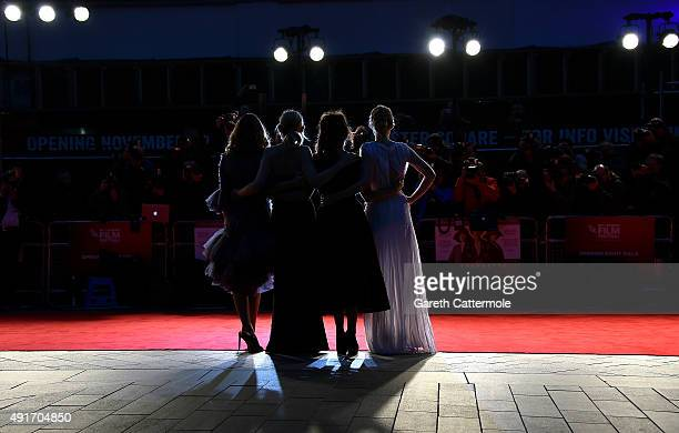 Actresses Carey Mulligan Anne Marie Duff Helena Bonham Carter and Romola Garai attend the 'Suffragette' premiere at the Opening Night Gala during the...