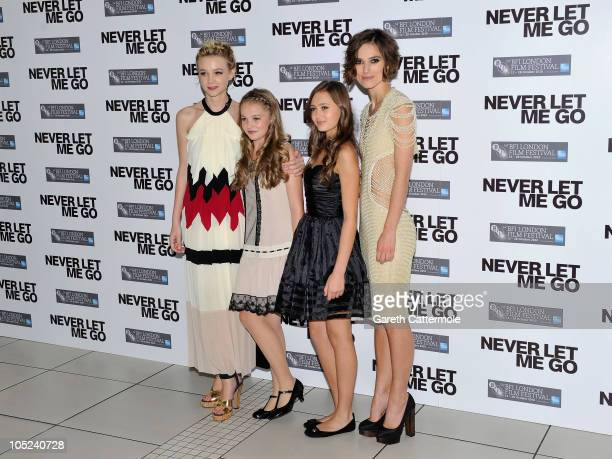 Actresses Carey Mulligan Isobel Meikle Small Ella Purnell and Keira Knightley attend the 'Never Let Me Go' premiere during the Opening Night of the...