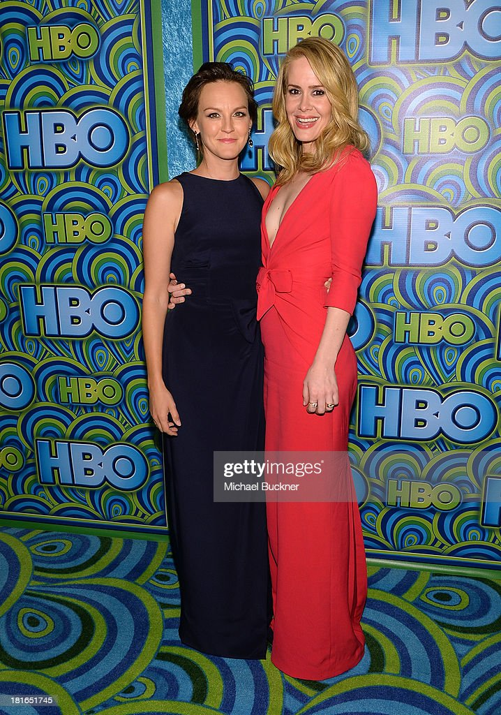 Actresses Carla Gallo (L) and <a gi-track='captionPersonalityLinkClicked' href=/galleries/search?phrase=Sarah+Paulson&family=editorial&specificpeople=220657 ng-click='$event.stopPropagation()'>Sarah Paulson</a> attend HBO's Annual Primetime Emmy Awards Post Award Reception at The Plaza at the Pacific Design Center on September 22, 2013 in Los Angeles, California.