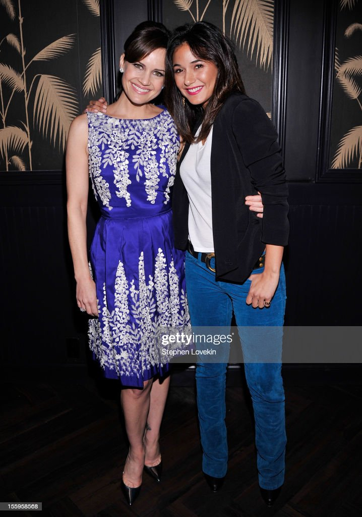 Actresses <a gi-track='captionPersonalityLinkClicked' href=/galleries/search?phrase=Carla+Gugino&family=editorial&specificpeople=207137 ng-click='$event.stopPropagation()'>Carla Gugino</a> and <a gi-track='captionPersonalityLinkClicked' href=/galleries/search?phrase=Emmanuelle+Chriqui&family=editorial&specificpeople=541098 ng-click='$event.stopPropagation()'>Emmanuelle Chriqui</a> attend the after party for a screening Of 'Hotel Noir' hosted by The Cinema Society and Gato Negro Films at No. 8 on November 9, 2012 in New York City.