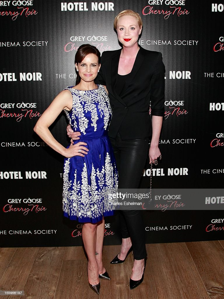 Actresses <a gi-track='captionPersonalityLinkClicked' href=/galleries/search?phrase=Carla+Gugino&family=editorial&specificpeople=207137 ng-click='$event.stopPropagation()'>Carla Gugino</a> and Gwendoline Christie attend Gato Negro Films & The Cinema Society screening of 'Hotel Noir' at the Crosby Street Hotel on November 9, 2012 in New York City.