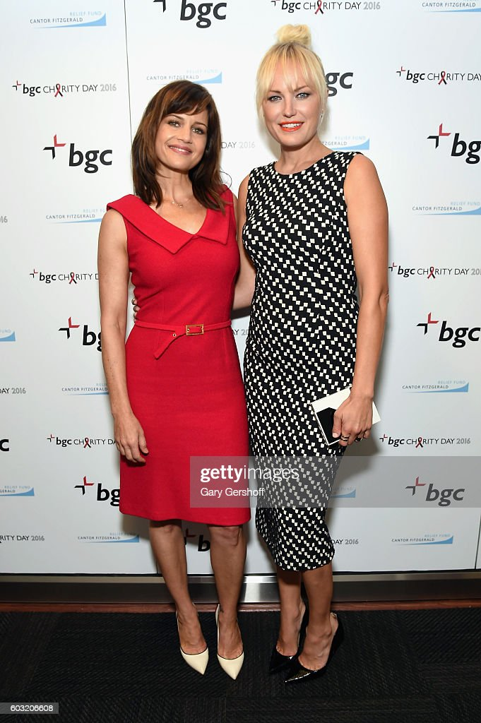 Actresses Carla Gugino (L) Malin Akerman attend Annual Charity Day hosted by Cantor Fitzgerald, BGC and GFI at BGC Partners, INC on September 12, 2016 in New York City.