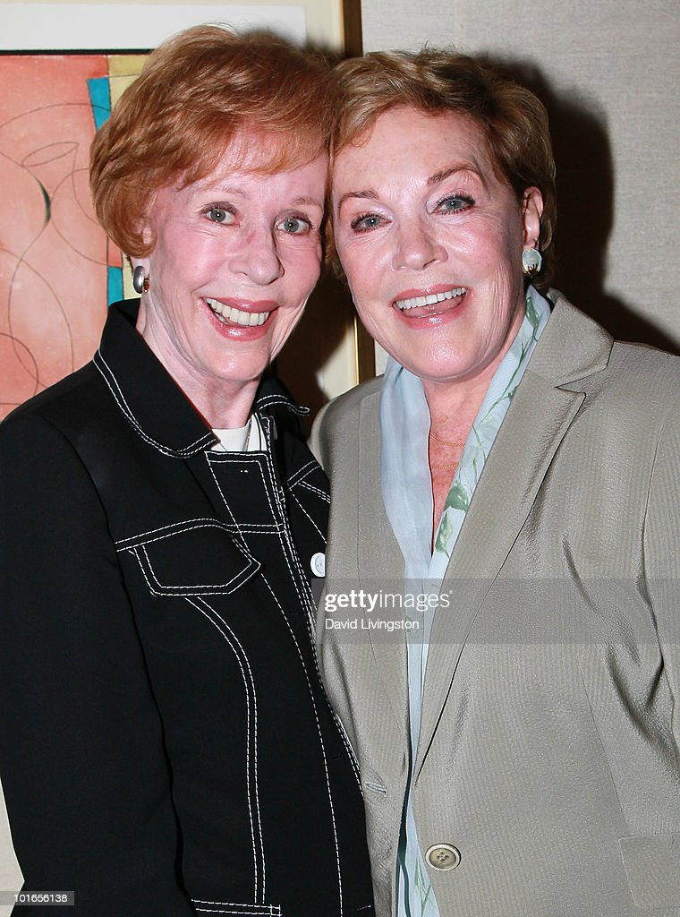 Actresses Carol Burnett (L) and Julie Andrews attend Blake Edwards' art exhibit preview at Leslie Sacks Fine Art on June 5, 2010 in Brentwood, California.