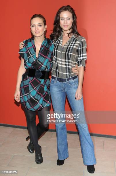 Actresses Carolina Crescentini and Gabriella Pession attend 'Oggi Sposi' Photocall at Cinema Apollo on October 23 2009 in Milan Italy