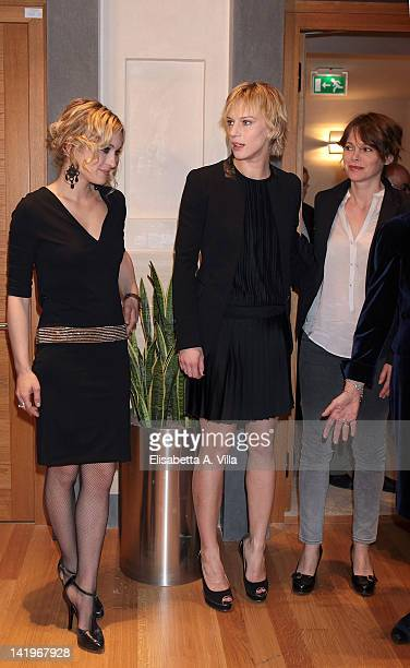 Actresses Carolina Crescentini Antonia Liskova and Barbora Bobulova attend screening of 'Mai Per Amore' at Camera dei Deputati on March 27 2012 in...