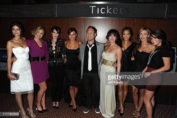 Actresses Caroline D'Amore Leah Pipes Rumer Willis Briana Evigan director Stewart Hendler Margo Harshman Jamie Chung Audrina Patridge and Justine...