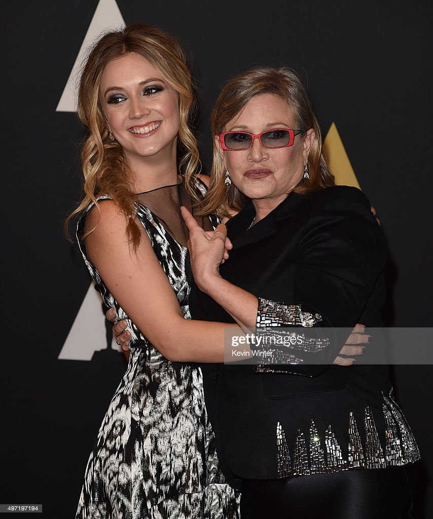 Actresses Carrie Fisher (L) and Billie Catherine Lourd attend the Academy of Motion Picture Arts and Sciences' 7th annual Governors Awards at The Ray Dolby Ballroom at Hollywood & Highland Center on November 14, 2015 in Hollywood, California.