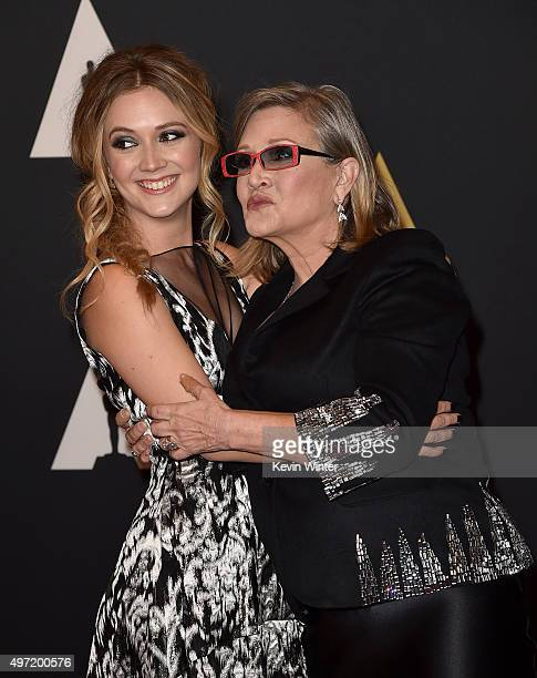 Actresses Carrie Fisher and Billie Catherine Lourd attend the Academy of Motion Picture Arts and Sciences' 7th annual Governors Awards at The Ray...