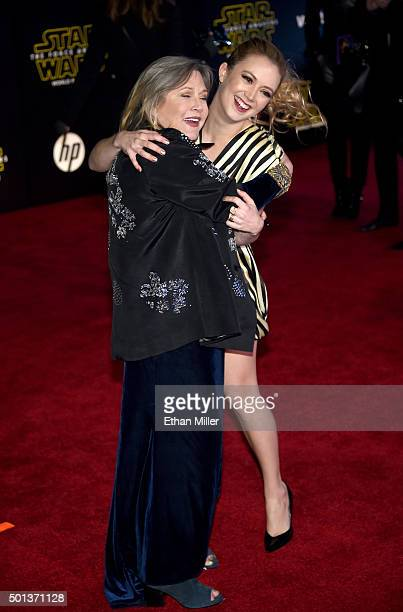 Actresses Carrie Fisher and Billie Lourd attend the Premiere of Walt Disney Pictures and Lucasfilm's 'Star Wars The Force Awakens' at the Dolby...