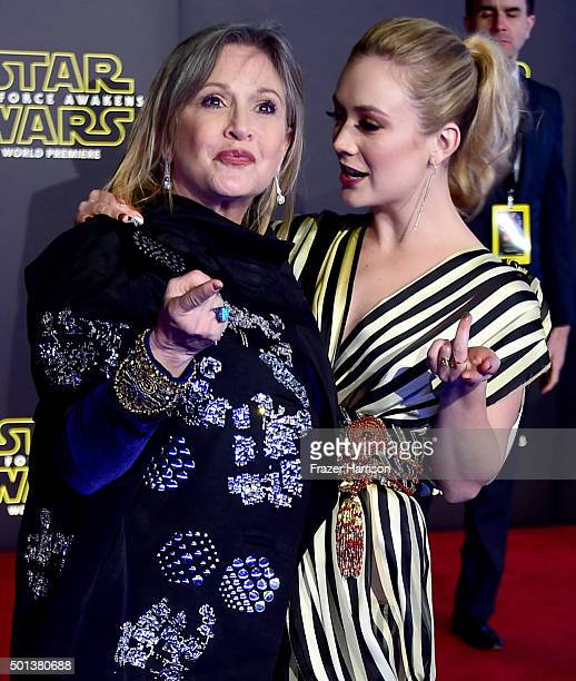 Actresses Carrie Fisher and Billie Lourd attend the premiere of Walt Disney Pictures and Lucasfilm's 'Star Wars The Force Awakens' on December 14th...