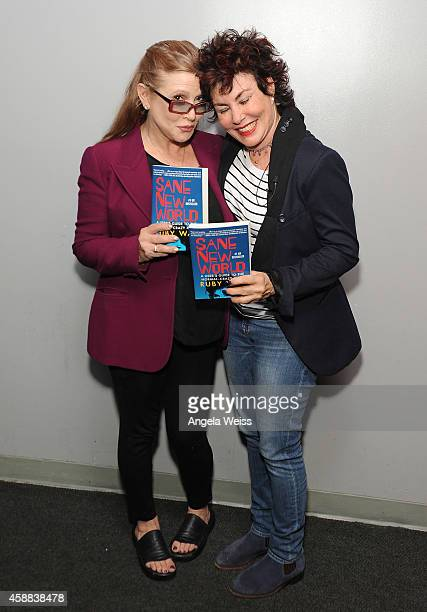 Actresses Carrie Fisher and Ruby Wax attend Live Talks Los Angeles presents Ruby Wax in Conversation with Carrie Fisher at Aero Theatre on November...