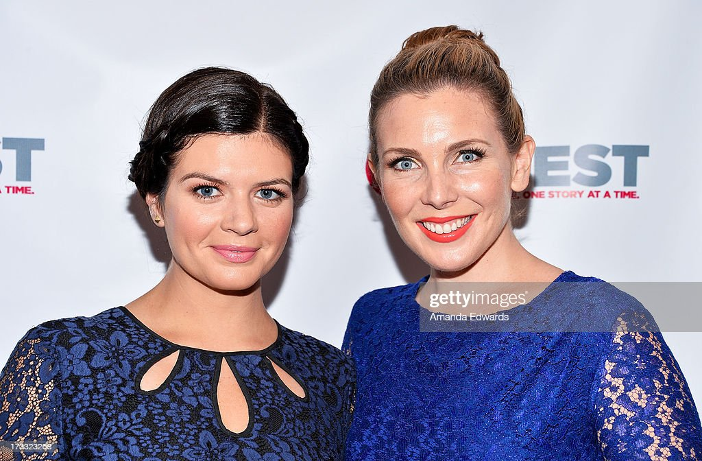Actresses Casey Wilson (L) and June Diane Raphael arrive at the 2013 Outfest Opening Night Gala of C.O.G. at The Orpheum Theatre on July 11, 2013 in Los Angeles, California.