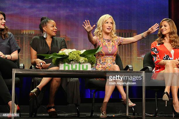 Actresses Casey Wilson Tymberlee Hill Angela Kinsey and Andrea Savage speak onstage during 'The Hotwives of Las Vegas' panel at the Hulu 2015 Summer...