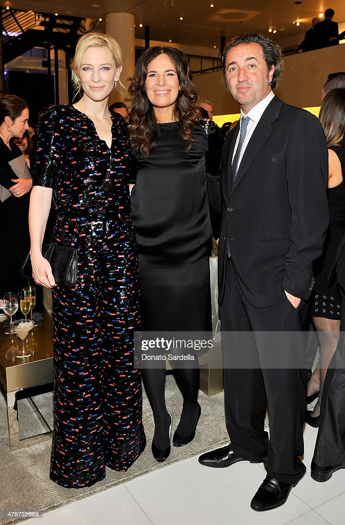 Actresses Cate Blanchett Roberta Armani and director Paolo Sorrentino attend the Giorgio Armani special celebration honoring Martin Scorsese and...