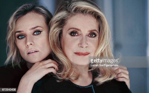 Actresses Catherine Deneuve and Diane Kruger are photographed for Madame Figaro on September 7 2017 in Paris France Kruger Sweater Deneuve Coat...