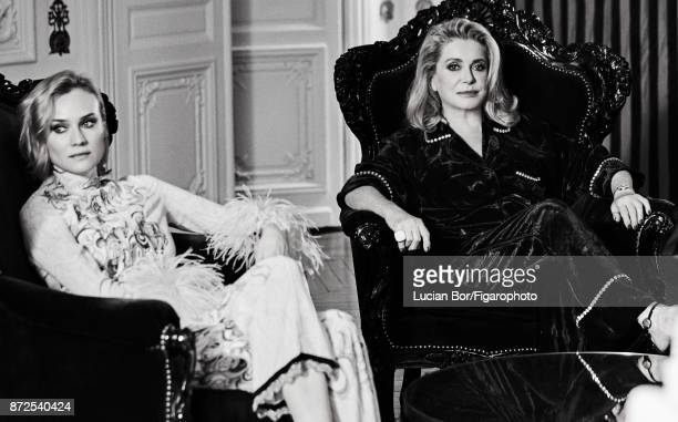 Actresses Catherine Deneuve and Diane Kruger are photographed for Madame Figaro on September 7 2017 in Paris France Kruger Pajama Deneuve Pajama...