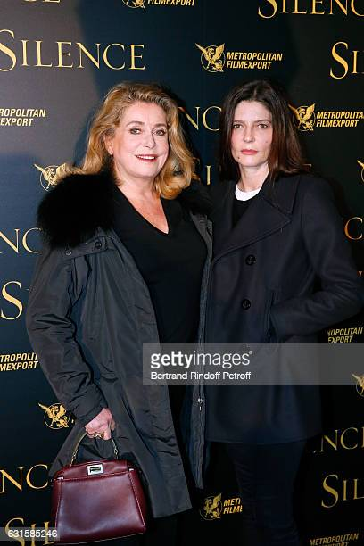 Actresses Catherine Deneuve and her daughter Chiara Mastroianni attend the 'Silence' Paris Premiere at Musee National Des Arts Asiatiques Guimet on...