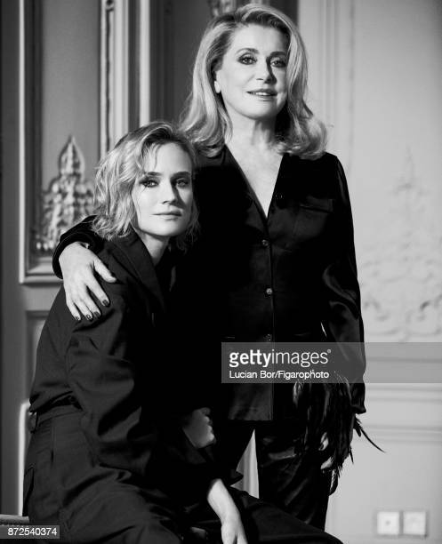 Actresses Catherine Deneuve Diane Kruger are photographed for Madame Figaro on September 7 2017 in Paris France Kruger Jacket and pants Deneuve Shirt...