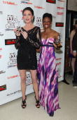 Actresses Catherine ZetaJones and Montego Glover receive awards at the 55th Annual Drama Desk Awards at the FH LaGuardia Concert Hall at Lincoln...