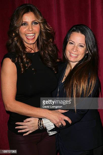 Actresses Charisma Carpenter and Holly Marie Combs attend the 'Bands for Beds' Bethlehem Parents Primary School benefit at Dim Mak Studios on January...