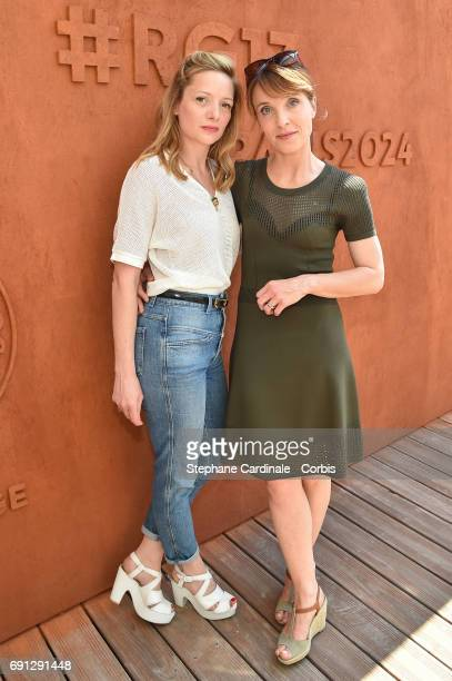 Actresses Charlie Bruneau and Alix Poisson attend the 2017 French Tennis Open Day Five at Roland Garros on June 1 2017 in Paris France