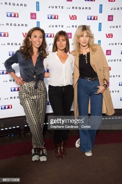 Actresses Charlotte des Georges Julie de Bona and Pauline Lefevre attend the 'Juste Un Regard' Photocall at Cinema Gaumont Marignan on May 11 2017 in...