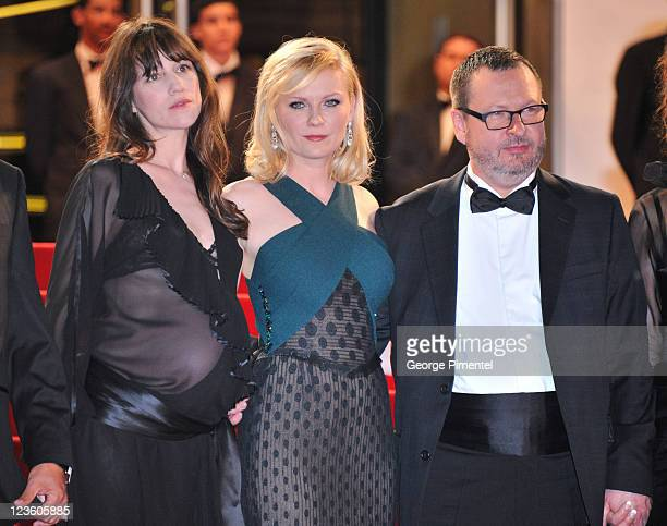 Actresses Charlotte Gainsbourg Kirsten Dunst and director Lars von Trier attend the 'Melancholia' Premiere during the 64th Cannes Film Festival at...