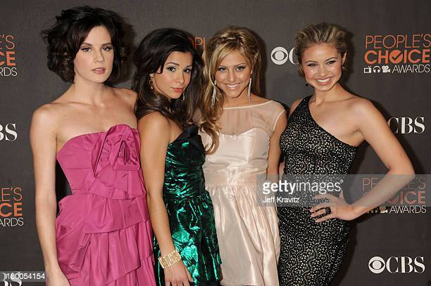 Actresses Chelsea Hobbs Josie Loren Cassie Scerbo and Ayla Kell arrive at the People's Choice Awards 2010 held at Nokia Theatre LA Live on January 6...