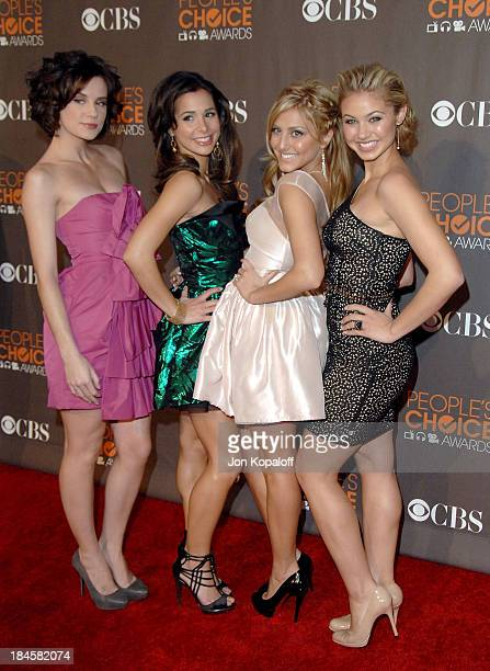 Actresses Chelsea Hobbs Josie Loren Cassie Scerbo and Ayla Kell arrive at the People's Choice Awards held at Nokia Theatre LA Live on January 6 2010...