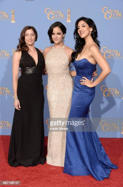 Actresses Chelsea Peretti Melissa Fumero and Stephanie Beatriz winners of Best Series Musical or Comedy for 'Brooklyn NineNine' pose in the press...
