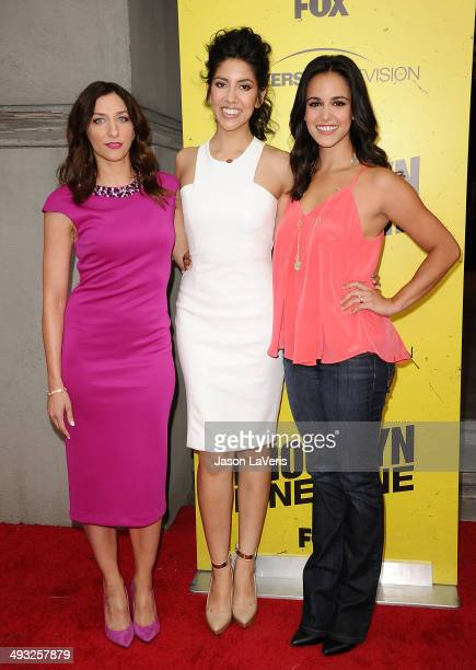 Actresses Chelsea Peretti Stephanie Beatriz and Melissa Fumero attend the 'Brooklyn NineNine' steakout block party and special screening event at...